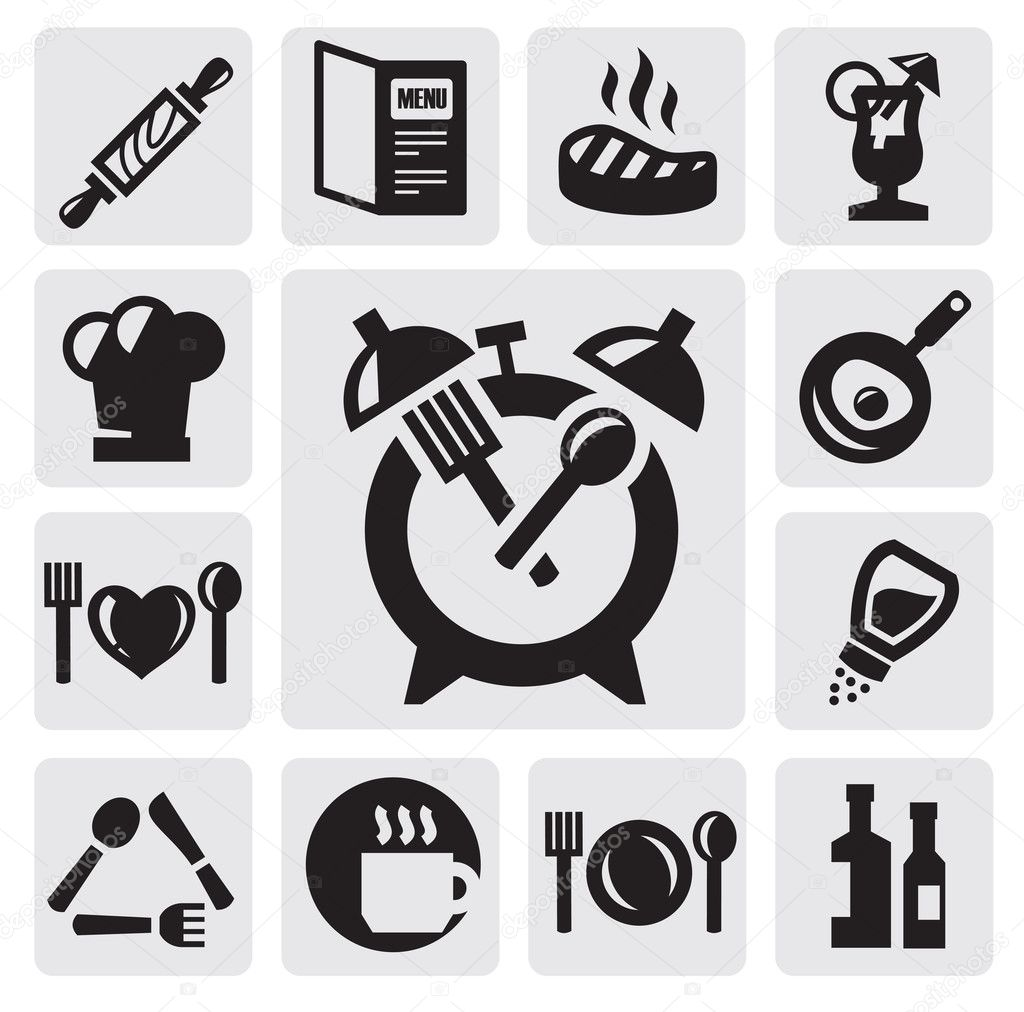 Fast Icon Vector Vector Black Kitchen Icons Set