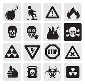 Iconos de peligro — Vector de stock