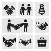 Iconos de apretón de manos — Vector de stock