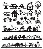 Casas iconos — Vector de stock
