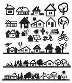 Huizen pictogrammen — Stockvector