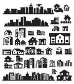 Casas iconos — Vector de stock