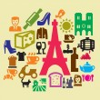 French culture icons — Stock Vector