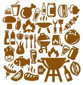Icônes de barbecue — Vecteur