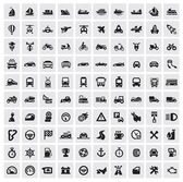 Big transportation icons — Stok Vektör