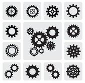 Ikona mechanismus obrábění ozubených kol — Stock vektor