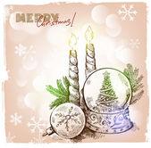 圣诞节手绘插图 — 图库矢量图片