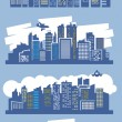 Blue city - Stock Vector