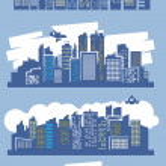 Blue city — Stock Vector