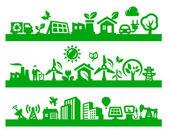 Grön stad ikoner — Stockvektor