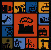 Industry icons set — Stock Vector