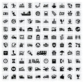 Icone di logistiche e spedizione — Vettoriale Stock