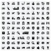 Logistieke en scheepvaart pictogrammen — Stockvector