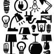 Stock Vector: Lamp icons