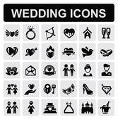 Düğün simgeler — Stok Vektör