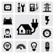Electricity icons - Stok Vektr