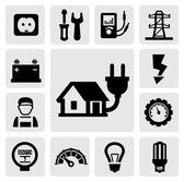 Icone di elettricità — Vettoriale Stock