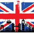 UK flag and silhouettes - Stock Vector