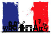 France flag and silhouettes — Stock Vector