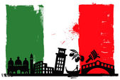 Italy flag and silhouettes — Stock Vector