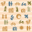 Travel and landmarks icons - Stock Vector