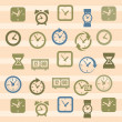 Stok Vektör: Clocks icons