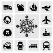 Compass and transport — Stock Vector