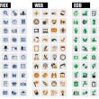 Office, web and eco icons - 图库矢量图片