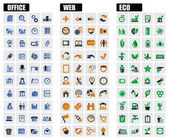 Office, web and eco icons — Stock Vector