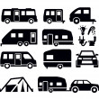 Stock Vector: Camper van icons