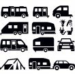 Camper van icons — Stock Vector