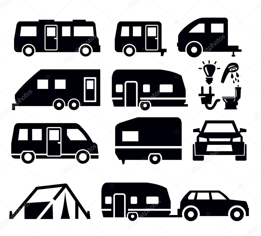 Excellent Camper Trailer Silhouette Set Of Different Silhouettes Travel Trailer