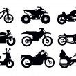 Stock Vector: Motorcycles and bicycles