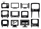 Retro and modern tv icons — Stock Vector