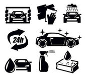 Car wash icons — Stock Vector