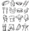 Stock Vector: Hand draw barbecue