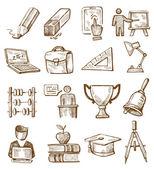 Çizilmiş eğitim el — Stok Vektör