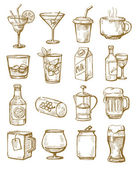 Hand drawn beverages — Stock Vector