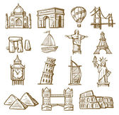 Hand drawn landmarks — Stock Vector