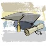 Graduation cap and diploma — Stock Vector