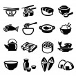Japan food icons — Stock Vector