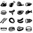 Meat and sausage icons — Stock Vector #30299431