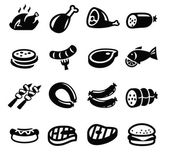 Meat and sausage icons — Stock Vector