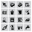 Cleaning icons — Stok Vektör #32598105