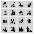 Cleaning icons — Stok Vektör #32598303