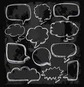 Speech bubbles on chalkboard — Stock Vector