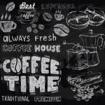 Coffee on chalkboard — Stock Vector