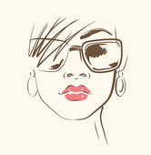 Vector face in glasses — Stock Vector