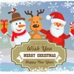 Vector reindeer, snowman, santa claus — Stock Vector