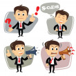 Vector businessman in various poses uses megaphone — Stock Vector
